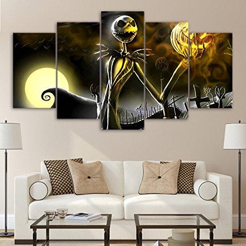 WJDJT Leinwanddrucke,Moderne Hauptdekoration Malerei 5 Stück Halloween-Ideen Poster Modular Kunstwerk Bild Für Wohnzimmer Wanddekoration (Kein Rahmen)
