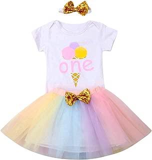 1st Birthday Girl Outfit Ice Cream ONE Print Romper Jumpsuit & Rainbow Tulle Tutu Skirt & Sequin Headband Sets 3pcs