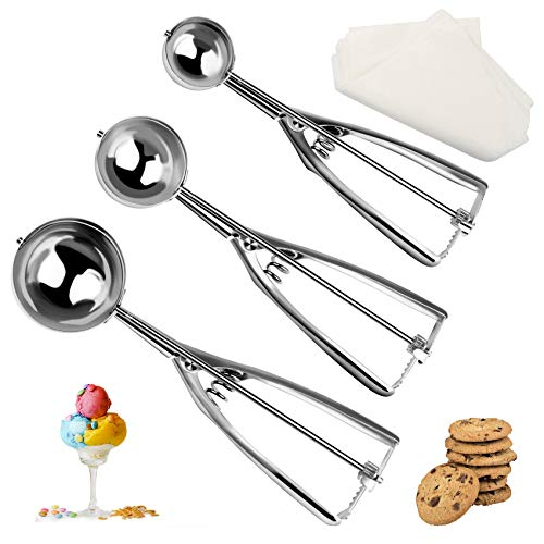 Cookie Scoop Set, Ice Cream Scoop Set, 3 PCS Stainless Steel Cookie Scoops for Baking Include small size 1.6 in), medium size (2 in), large size (2.5 in), Ergonomic Handle Cookie Dough Scoop