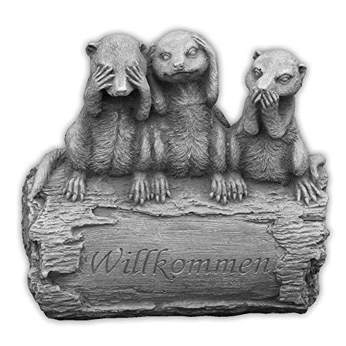 gartendekoparadies.de Massive Steinfigur Erdmännchen Familie Willkommen aus Steinguss frostfest