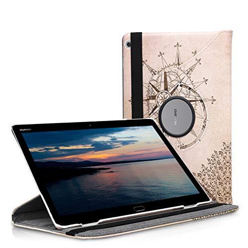 kwmobile Hülle kompatibel mit Huawei MediaPad M3 Lite 10-360° Tablet Schutzhülle Cover Case - Kompass Barock Dunkelbraun Beige