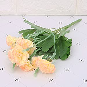 cici store Artificial Silk Fake Carnations 10 Heads Flowers – Wedding Party Home Decoration Photography Props (Yellow)