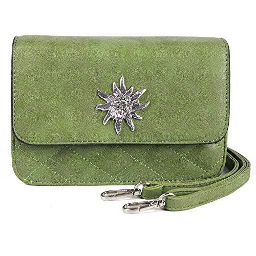 Enzianblau Trachten: Tasche in Wildleder-Optik mit Edelweißbrosche Glitzer, Trachtencluch, Oktoberfest Tasche zum Dirndl (grün)