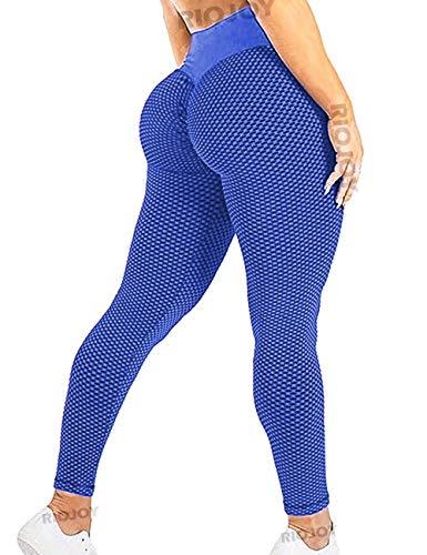 RIOJOY Leggings de gimnasio para mujer, cintura alta, para levantamiento de glúteos, pantalones de yoga Azul #2 Azul XL