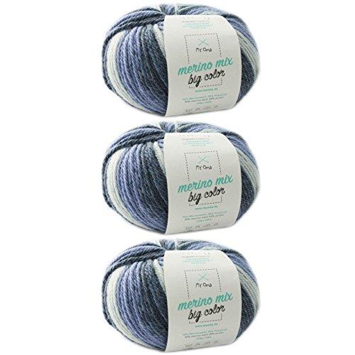 Wolle Farbverlauf stricken * 3 Knäuel Merino Mix big Color spirit (Fb 5005) * Merinowolle bunt 100g/150 m + GRATIS Label - Farbverlaufsgarn häkeln Nadelstärke 6-7 mm - Effektgarn blau MyOma