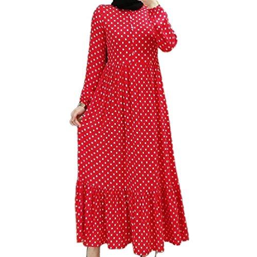 ZOUD Mujeres Musulmana Linterna Mangas Maxi Largo Swing Vestido Lunares Impresión Botones Plisados Volantes Cintura Alta Kaftan Abaya Hijab Islam Ropa