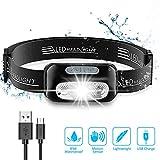 Cocoda Linterna Frontal, LED USB Recargable Linterna Cabeza con 4 Modes de Luz,...