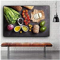 アートパネル ZAJFBH 野菜料理用品食品フルーツキッチンキャンバス絵画クアドロススカンジナビアポスターとプリントウォールアートピクチュアリビングルーム 19.7x27.6in(50x70cm)x1pcs フレームなし フレームなし