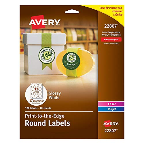 "Avery Printable Round Labels with Sure Feed, 2"" Diameter, Glossy White, 600 Customizable Labels (22807)"