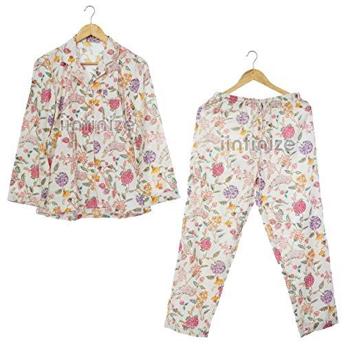 iinfinize Baumwolle Nachtwäsche Pyjama Frauen Kleidung Nachtkleidung Kleid Damen Home Wear Pyjama-Sets Indische Blumen Gedruckt Größe Nachtanzug (XXL)