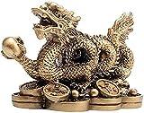 JJDSN Estatua de dragón Chino Feng Shui para atraer Riqueza y Buena Suerte, Regalo para el hogar, Adornos para el Coche, Escultura de Regalo, dragón asiático de latón, dragón Chino, Juguete, dragó