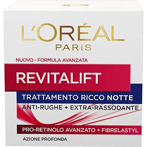 L Oréal Paris Crema Viso Notte Revitalift, Azione Antirughe Extra-Rassodante con Pro-Retinolo Avanzato, 50ml
