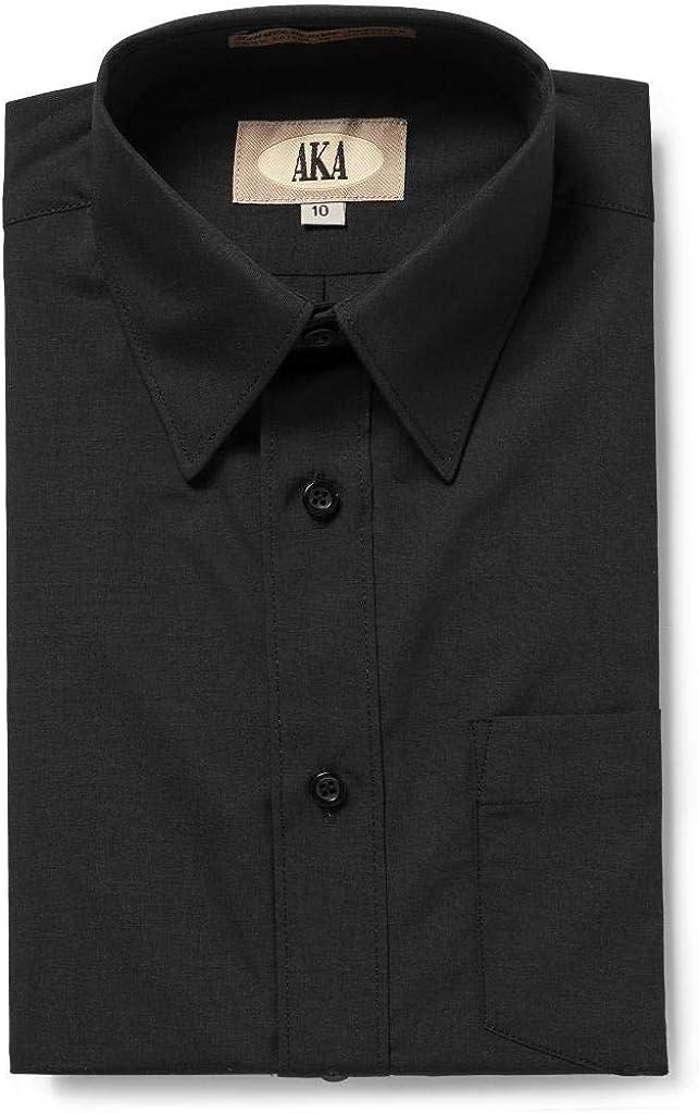 AKA Boys Solid Long Sleeve Dress Shirt - Back to School