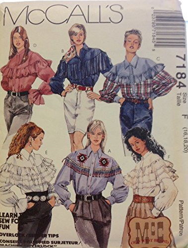 McCalls 7184 Schnittmuster Old West Western Square Dance Blusen Gr. F 44 46
