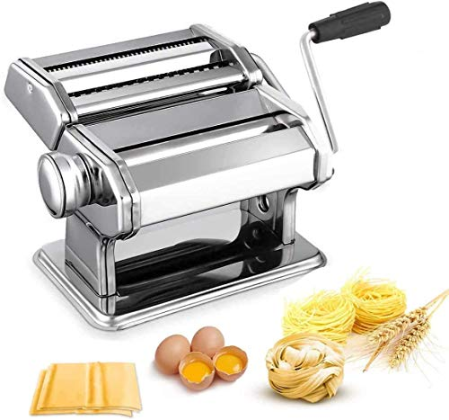 150 Pasta Machine All in one 7 Thickness Settings Pasta Maker Machine Stainless Steel Manual Roller Pasta Maker for Spaghetti Linguine Fettuccine Lasagne Includes Dough Cutter amp Hand Crank