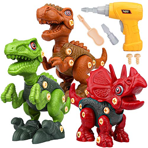 Sanlebi Dinosaurios Juguetes con Taladro Eléctrico, DIY Construcciones Juegos de Dinosaurios Cumpleaños Regalo para Niños 3 4 5 6