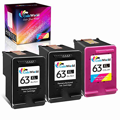 ColoWorld Remanufactured Ink Cartridge Replacement for HP 63 63XL Used for HP OfficeJet 3830 4650 5255 5258 Envy 4520 4512 Deskjet 3630 2132 3632 1112 3637 3634 3631 3639 Printer (2 Black, 1 Color)