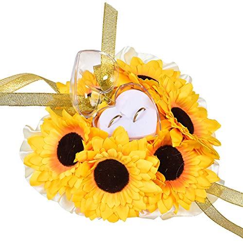 FiedFikt, Cuscino Porta FEDI Nuziali con Perle e Fiori, 19 x 19 cm, Colore: Giallo/Bianco, portagioie, Accessori per Matrimonio, Decorazione Nuziale Yellow