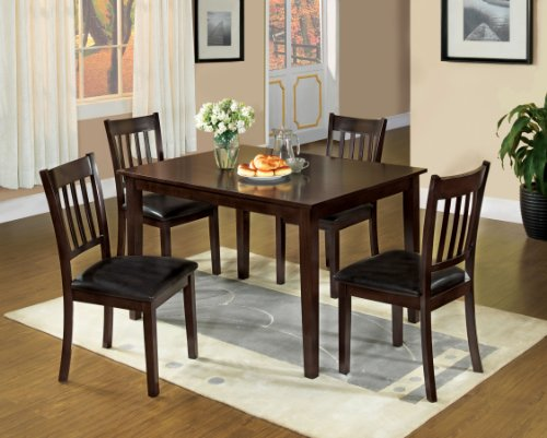 Furniture of America Letta 5-Piece Dining Table Set, Espresso Finish