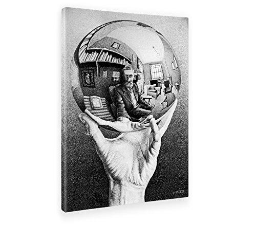 Giallobus - Cuadro - Impresion EN Lienzo - Escher - Mano con LA Esfera Reflectante - 50 x 70 CM