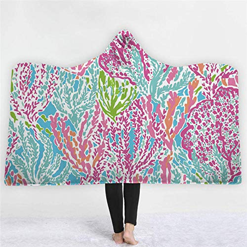 TTLDB deken en plaids mantel winterjas met capuchon, bloemen en planten, model herfst en winter, warm, dik, koraalrood, fluwelen deken