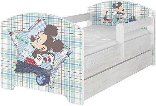 Lit bébé Disney original avec protection anti-chute, tiroir et matelas (80 x 160 cm, Mickey )