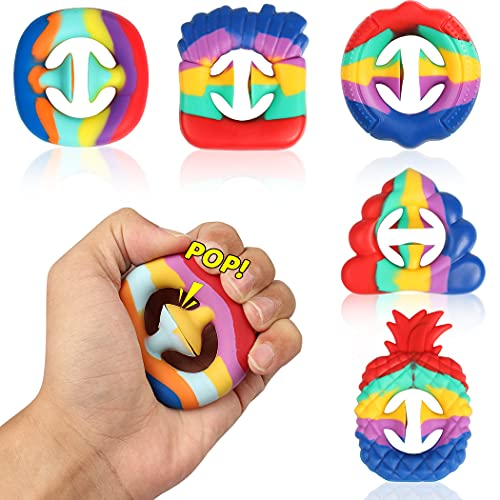 shinyis 5 Pack Snapper Fidget Toy for Stress Relief, Grip Extrusion Grab Snaper Popper Hand Sensory Pop Toy Snappers Pop Stress Relief for Autistic Kids and Adult (Rainbow)