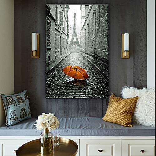 Roter Regenschirm Schwarzweiss-Straßenplakat und Druck-Leinwand-Malerei-Wandkunst-Bild für Wohnzimmer A 60x90cm
