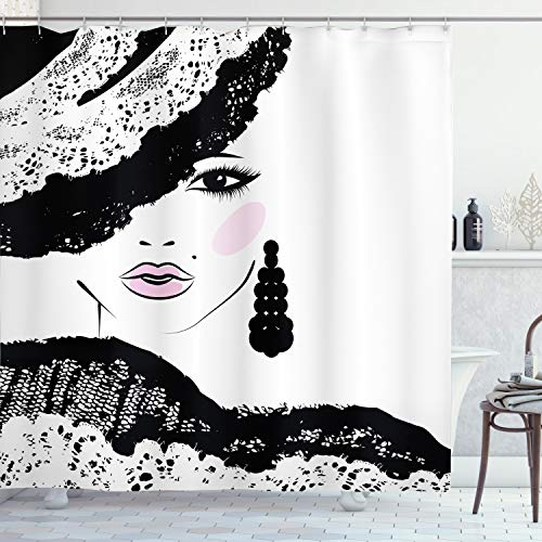 ABAKUHAUS Teen Zimmer Duschvorhang, Barock Frau Hut, Digital auf Stoff Bedruckt inkl.12 Haken Farbfest Wasser Bakterie Resistent, 175 x 200 cm, Holzkohle grau Hellrosa