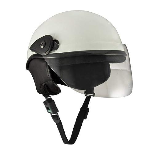 Sage Square Scooty Half Helmet for Men, Women (White Glossy, Large)