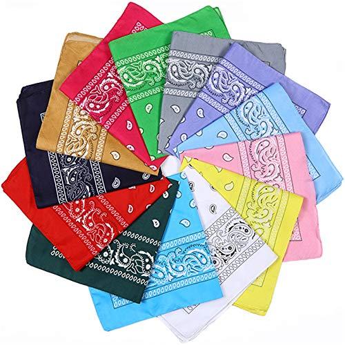 Tonsooze Pañuelos Bandanas, Multicolor Bandanas Algodón Bandanas Impresión Paisley Pañuelos Multifuncional, Deportiva Bufanda Para Mujeres Y Hombres 13 Color