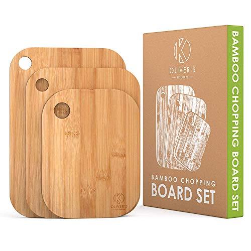 Oliver's Kitchen – Set de 3 Planches à Découper en Bois – Différentes Tailles Pour Toutes les Occasions – Durable et Résistante – Planches à Découper en Bambou 100% Naturel et Biologique