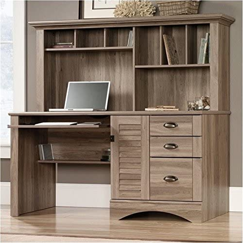 BOWERY HILL Home Office Limited time for free shipping Desk in Salt Free shipping on posting reviews with Hutch Oak