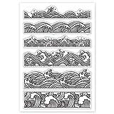 GLOBLELAND 1 hoja Ukiyo-e Waves patrón de silicona sellos sellos tarjetas para scrapbooking tarjetas de vacaciones hacer bricolaje diario álbum de fotos decoración