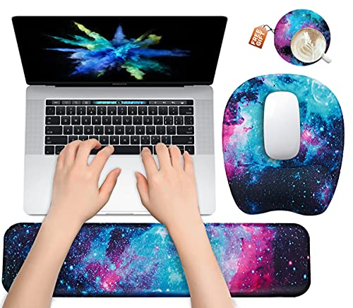 Keyboard Wrist Rest Mouse Pad Wrist Support for Computer Desktop/Laptop/Notebook Memory Foam Keyboard Pad Ergonomic Hand Rest Wrist Cushion for Home Office Gaming Easy Typing Pain Relief - Galactic