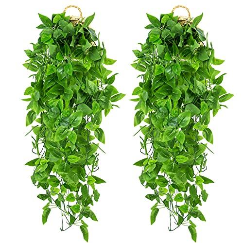 2 Piezas Plantas Colgantes Artificiales de Hiedra Falsa, Plantas Artificiales Colgantes de Plástico, Fiestas, Cafés, Decoración de Plantas Verdes Interiores Exteriores.