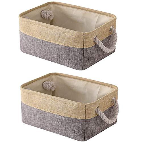 GJCrafts Paquete de 2 cestas de almacenamiento de tela rectangulares para el hogar, caja de almacenamiento plegable con asa para ropa, juguetes, papelería, 30 cm x 20 cm x 13 cm