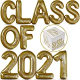Class of 2021 Inflatable Pool Floats Letter Set by Spell Party - Large 20' Gold Letter Balloon Indoor Outdoor Party Decorations for Graduation Beach Party and Backdrop banner