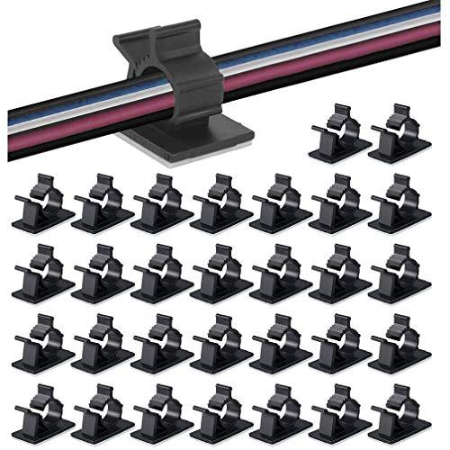 ケーブルクリップ 50個入 4階段調節可能コードクリップ ケーブルホルダー コードフック ケーブル収納 コード管理 結束固定ベース 粘着シート付 ケーブル固定具 by MAVEEK