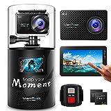 VanTop Moment 4 Caméra Sport 4K WiFi avec Écran Tactile, Sac à Dos,40M Étanche,20MP Sony Capteur, 170° Angle, 2 Batteries, Télécommande et 22 Accessoires Compatible avec gopro