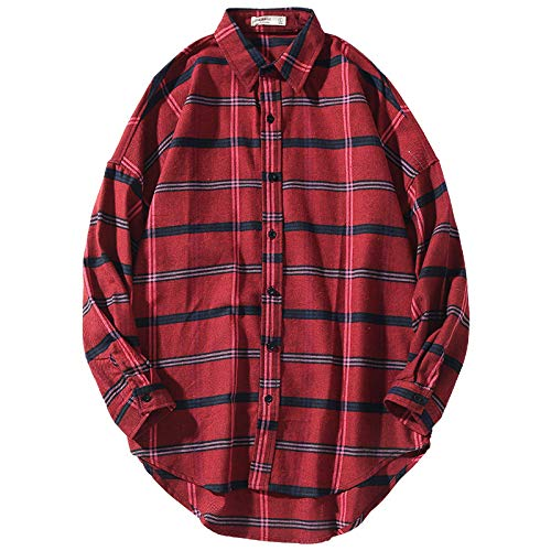 Camisa de Manga Larga para Hombre Primavera Nueva Camisa clsica de Manga Larga con Solapa a Cuadros Camisa Informal Suelta Chaqueta S
