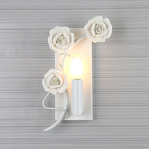 ZHCSYL - Aplique de tipo candelabro retro de hierro E27 para pared Nordic Light Moderna Minimalista Habitación Salón TV Fondo Pared Balcón Lámpara de Pared Grabado Rosa Romántico Arte Sconce - Blanco
