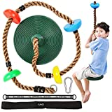 RAVS Climbing Rope Tree Swing for Kids with Disc Swing Seat and Platforms - Playground Swing Set Accessories Backyard Outdoor Toys Including Snap Hook and 4ft & 20in Hanging Straps