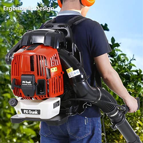 PX-Trunk Gas Leaf Blower 76cc 4 Cycle Engine Backpack Blower Powerful Gas Powered Blower 700 CFM Commercial Blower for Lawn Garden Blowing Leaves Snow Debris and Dust