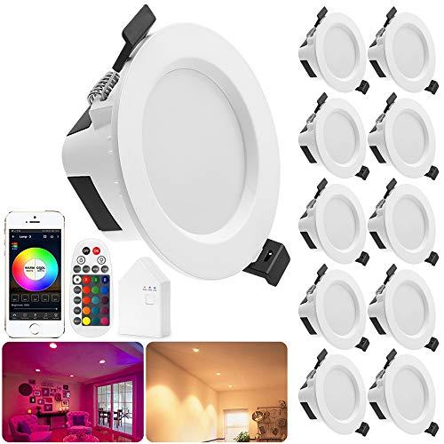 Bluetooth Downlight LED5W RGBW + CCT 5 in 1 spot da incasso dimmerabili 230 volt luci ad incasso con telecomando Bluetooth, BT Mesh Smart Bridge (10 Led+telecomando+network bridge, 9W)