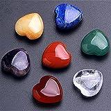 GOSOU Piedra de Tratamiento Natural 7 Chakra Cuarzo en Forma de corazón Cristales Curación de Piedras de curación Set Venta (Color : 1set, Size : Around20mm)