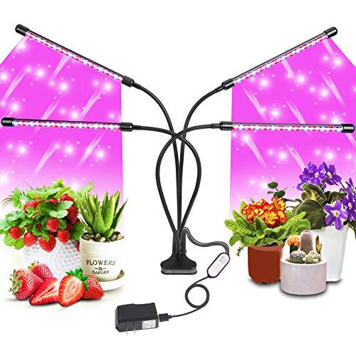 Pflanzenlampe LED, SRUIK 4 Heads 80LEDs Pflanzenlicht LED Vollspektrum Wachstumslampe LED Glow Light für Zimmerpflanzen mit Zeitschaltuhr, 3 Arten von Modus, 10 Lichtstärken für Gartenarbeit Bonsais