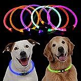 KOBWA Collar de Perro LED, Recargable por USB, con 3 Modos de Brillo y Corte Ajustable a tamaño para Perros, Collar de Perro Intermitente para Visibilidad Nocturna y Seguridad (Azul)
