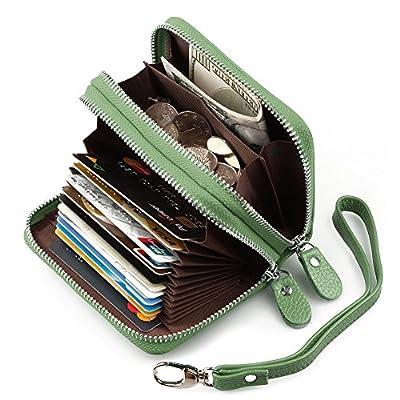 RFID Wallets for Women, Binwen Genuine Leather by Zip Around Wallets Credit Card Safe Holder Money Organizer clutch wallet for Ladies