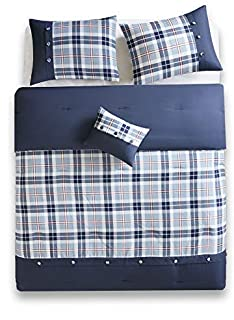 Comfort Spaces Harvey 4 Piece Comforter Set Plaid Perfect for College Dormitory, Guest Room Bedding, Queen, Blue